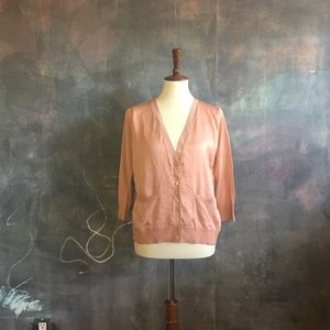 H&M Dusty Pink Satin Front Cardigan w/ Pockets